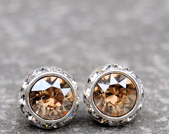 Champagne Bridal Studs Golden Shadow Stud Earrings Swarovski Crystal Golden Halo Earrings CLip on Sugar Sparklers Jewelry Set Wedding Gifts