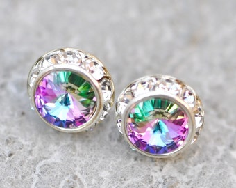 Purple Rainbow Earrings Diamond Earrings Swarovski Earrings Small Sugar Sparklers Swarovski Rhinestone Earrings Mashugana Wedding Jewelry