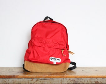 Vintage Outdoor Products Leather Bottom Backpack Red Camping Book Bag Traveling School University College Back Pack Suede