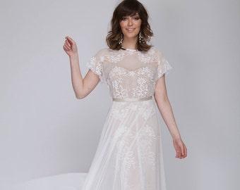 Bohemain lace wedding dress, wedding lace dress.