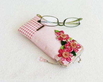 Beautiful Pink Glasses Case, Eyeglass Case, Spectacle Case, Metal Frame Purse