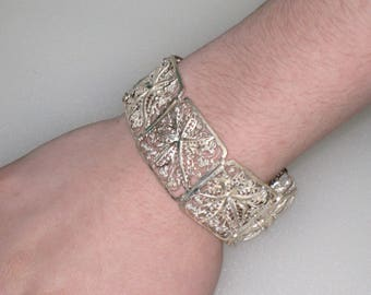 "Art Deco STERLING Filigree Wide Panel Bracelet, Made In GERMANY / Floral Design, 7 3/4"" Long / 33.3 Grams / Free US Shipping"