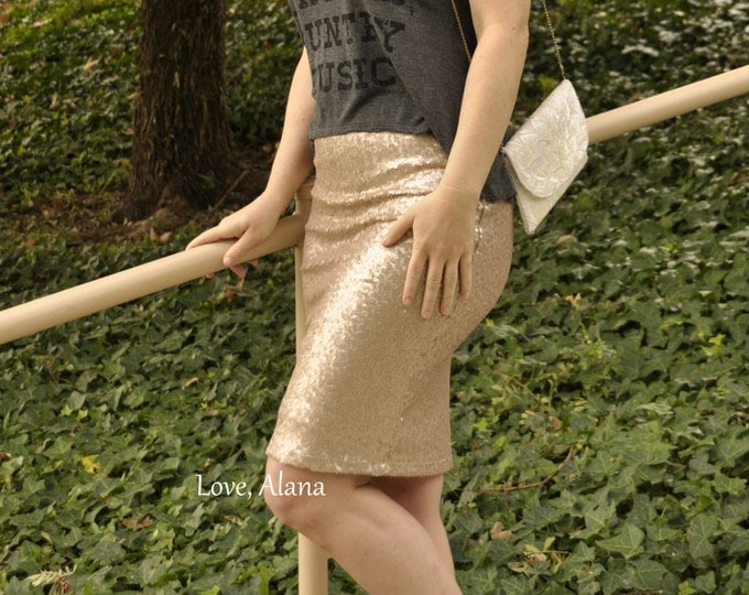 Matte Champagne Pencil Sequin Skirt - Stretchy, beautiful knee length skirt (Small, Medium, Large, XLarge)  Ships asap!