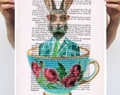 Rabbit Print, Bunny Print,Alice in Wonderland, Christmas Gift, Holiday Gift, Coco de Paris, POSTER 11x16:  Rabbit in a cup