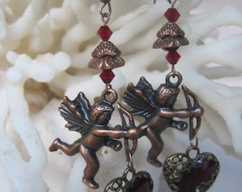 Antique Copper Filigree Deep Red Heart n Cupid with Arrow Crystals Earrings