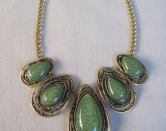 Antique Gold and Fall Green Matrix Tear Drop Necklace