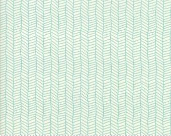 SALE, Sugar Pie Aqua and White Herringbone, 5044-12 by Lella Boutique of Moda fabrics