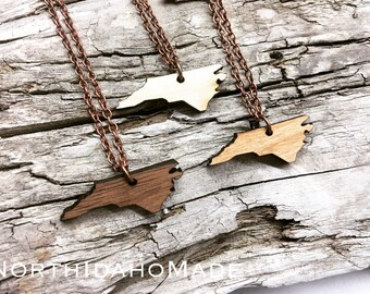 "1.25"" North Carolina Wood State Necklace - Mini Size - Customizable Wood Necklace - Wooden NC State Jewelry with Copper Tone Chain"