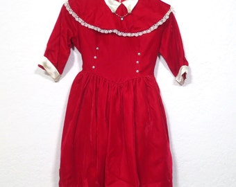 Vintage 1950s Red Velvet Swing Girl's Dress. beaded heart necklace attached to collar. Crinoline. Girl's party dress Size 6 7 8