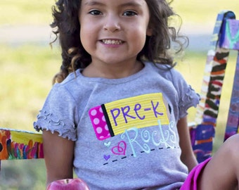 Girls cute back to School Pencil Shirt--PreK Rocksor ANY grade or level--Embroidered shirt or Bodysuit