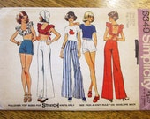"""SEXY 1970's Pinafore Bra Top / Short Shorts & Wide Leg Pants - Junior Size 13/14 (Bust 33.5"""") - UNCUT Vintage Sewing Pattern Simplicity 6349"""