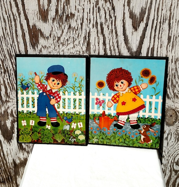 Vintage 1960's Raggedy Ann and Andy Wall Art by Lyn