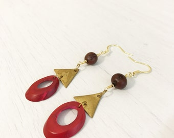 Micay Earrings // Acai berries + Gold plated triangles