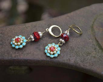 Turquoise Rhinestone Flower Earrings with pearls and red rhinestones and Czech glass beads handmade colorful earrings gift for jewelry lover