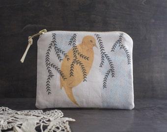 Woodland Bird Bag. Small Makeup Bag. Zipper Pouch. Animal Print. Fabric Design. Coin Purse Wallet. Animal Bag. Pencil Case.