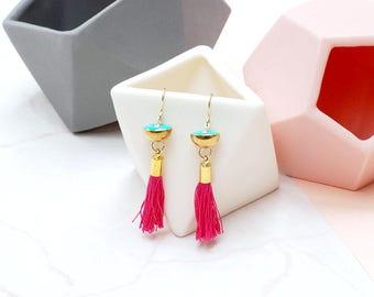 Hot Pink Tassel and Brass drop earrings