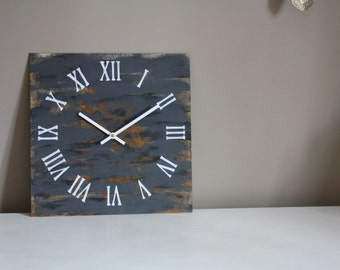 Metal Wall Clock.  Industrial. Rust. Chic. Gray. Grey. Abstract. Distressed. Minimalist. Art. Decor. Rusty Functional Art. Gift. Clock