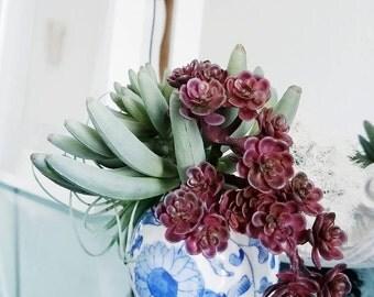 Blue China Toile Blue Modern Floral Toile Porcelain Bud Vase Flower Vase Chinoiserie
