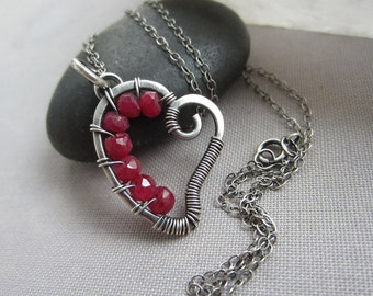 Ruby Necklace/ Heart Necklace/ Valentine's Day necklace/ Raw Ruby Heart Necklace/ Oxidized Silver Necklace/ Wire wrapped Heart pendant/