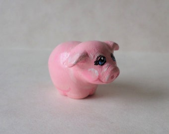 Miniature pig,  figurine, animal totem, paper clay sculpture, shadow box figurine # 113