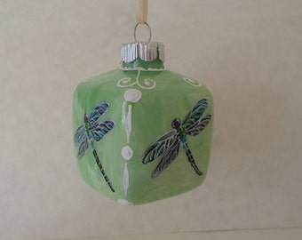 Hand painted Square Dragonfly Ornament, Christmas Ornament,  spring green  dragonfly no354