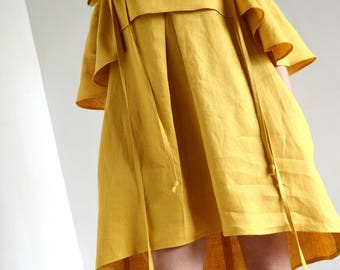 Yellow off shoulder ruffle dress