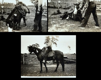 Cowboy with Trick Horse - Antique 1940's Photographs - Horse Kneeling and Laying Down on Command - Original Snapshots - Western / Ranch