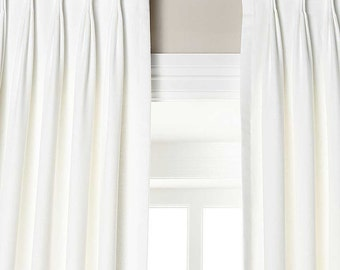 A Pair Of Linen Pinch Pleat Draperies, Available In Different Lengths