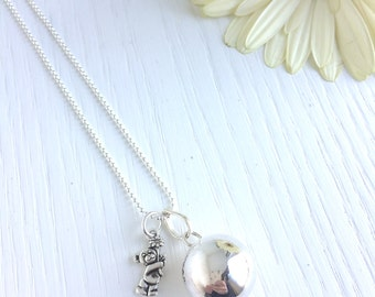 ANGEL CALLER Necklace with 20 mm silver plated bola and nickel free chain + metal pendant