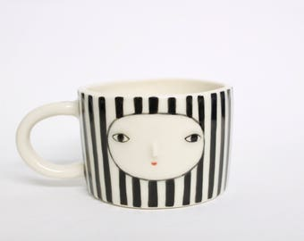 Striped cappuccino cup - Porcelain cup
