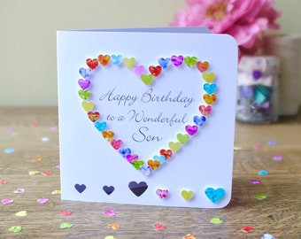 Son Birthday Card - Handmade Personalised Birthday Card for Son - Personalized Happy Birthday Wonderful Son - Cards by Gaynor - BHE12