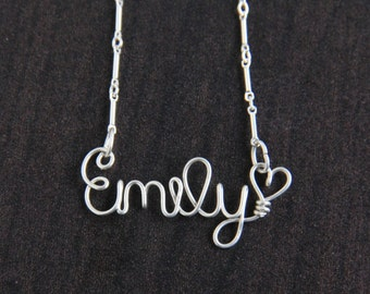 Custom Name Necklace, Children's Personalized Jewelry, sterling silver wire name, Personalized Gift