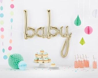Baby Script Balloon | Gender Reveal Balloon | White Gold Baby Balloon | Baby Shower Balloon