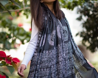 Black Om Prayer Shawl, Cotton Yoga Shawl Meditation Shawl