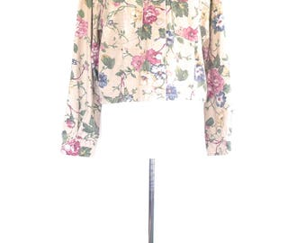 Floral Jean Jacket. Vintage 90s Denim Jacket. Small. Tan - Pink - Green