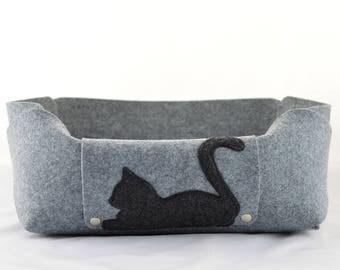 Felt Cat Bed, Felt Cat House, Felt Cat Cave, Cat Lover Gift, Room Decor, Gray, Charcoal, Anthracite, Cat Bed, cosy cat bed, gift for cat