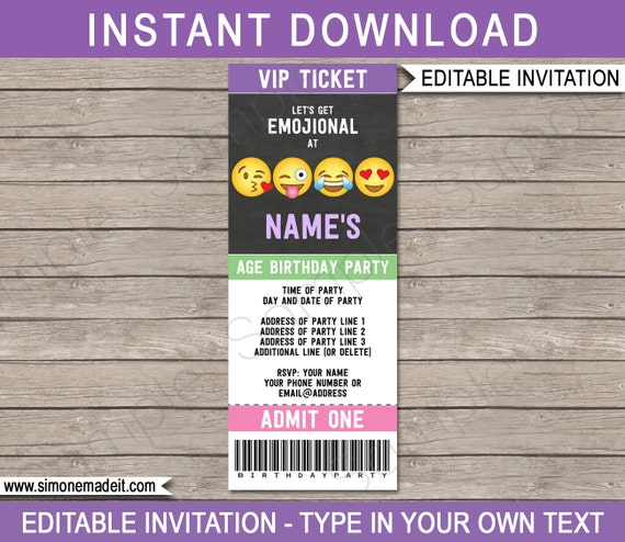 Emoji Ticket Invitation Template Emoji Birthday Party – Ticket Invitation Template