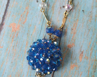 Upcycled brooch necklace, repurposed, wedding jewelry, something blue, one of a kind jewelry