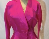 Reserved Silk Fuchsia Jacket by Thierry Mugler Sculptured Collar