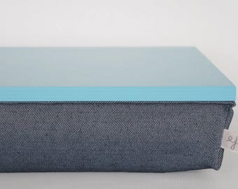 Lap Desk or Breakfast serving Tray - aquamarine blue tray with Denim pillow