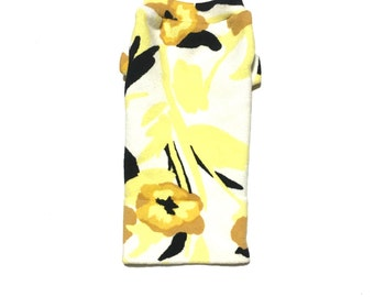 Designer Dog Sweater, XX Small Yellow, Black, White and Brown Floral Print, Chihuahua, Maltese Handmade Pet Apparel Clothes 0347
