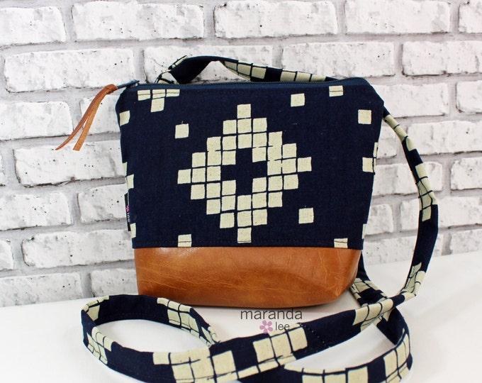 BRI Messenger Bag  - Indigo Tiles-  READY to SHIP Adjustable messenger Zipper Purse