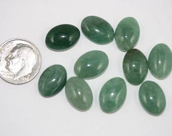 Green Aventurine Cabochons - 10 x 14 mm - Pack of 10