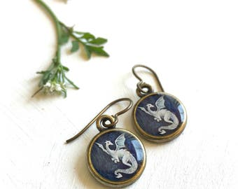 Dragon Earrings, Original Art Earrings made from Fine Art Prints, Mythical Creature Jewelry
