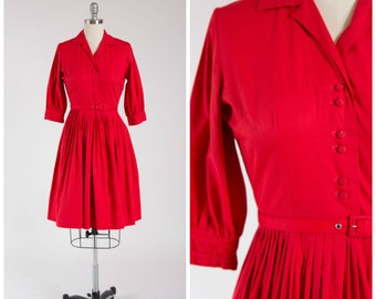 Vintage 1950s Dress • Ruby Woo • Red Cotton 50s Shirtwaist Dress with Full Skirt Size Small