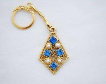 Vintage 1960's Jeweled Keychain - Brilliant Blue Glass Beveled Stones and Pearls - Mid Century Modern Design