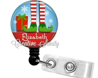 Christmas Elf Badge Holder, Personalized Christmas Elf Feet, Christmas Retractable Badge Reel