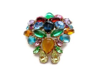 Juliana Fruit Salad Brooch Rhinestone, Cabochon and Art Glass 1960s Statement Piece