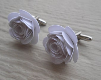 Paper Flower Cufflinks. CHOOSE YOUR COLORS!  Wedding, Men's Christmas Gift, Dad. Silver Plated.