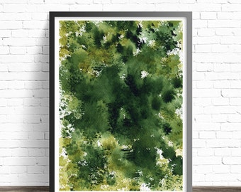Green Print. Nature prints. Green home decor. Modern prints. Green Watercolor. Green art. Modern art print. Green wall art. Modern art